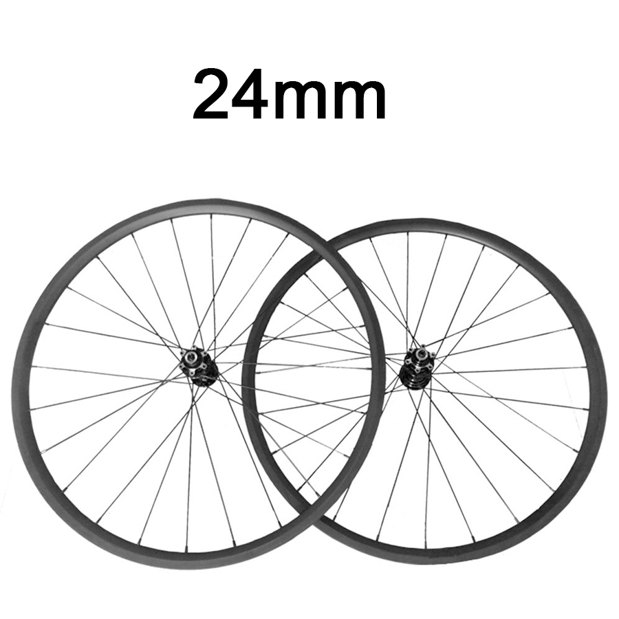 OZUZ Disc Brake Carbon Wheels 24 mm Depth Cyclocross Bike Rim 23mm wide Clincher Bicycle Carbon Wheelset 700c 3k Matte Glossy