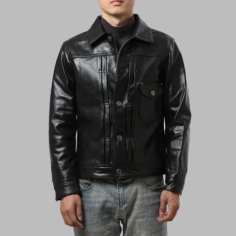AZ1905-7 Read Description! Asian Size Good Goat Leather Jacket Genuine Goat Leather Jacket 3 Colours