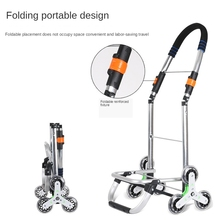 Wheel-Bearings Cart Trolley Stair-Climber Stainless-Steel-Frame Shopping-Grocery Foldable