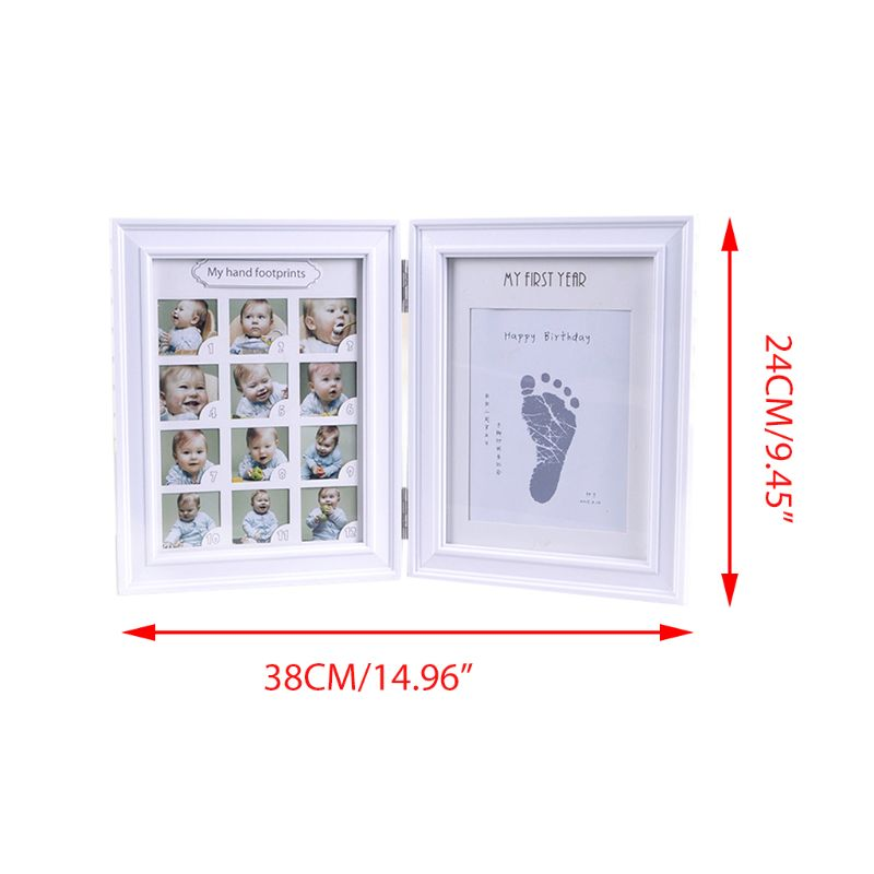 Newborn Hand And Foot Print Mud Baby Hundred Days Full Moon Age Growth Commemorative Photo Frame E65D