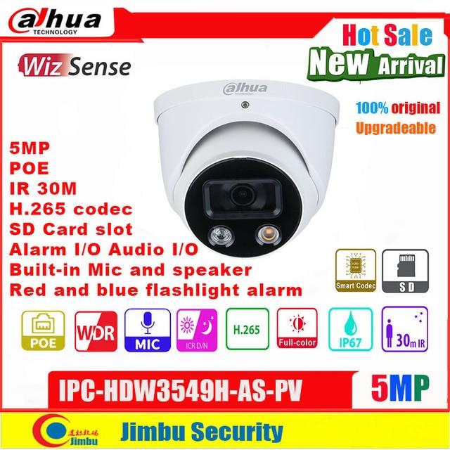 Dahua 5MP caméra IP POE IPC-HDW3549H-AS-PV couleur H.265 codec intégré micro audio entrée/sortie alarme entrée/sortie IR30m WDR fente SD
