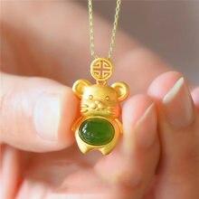 Natural verde hetian jade mouse pingente 925 colar de prata chinês jadeíte amuleto moda charme jóias presentes para mulher ela