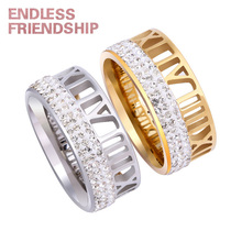 Endless Friendship Lover Roman numerals Silver Golden Ring Fashion Diamond Couple Rings For Woman anillos mujer Gift