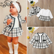 ZAFILLE 2020 New Summer kids Clothes Sets 2Pcs Top+Dress Baby Girl Clothing Sets Plaid Baby Girl Clothes Toddler Kids Suits winter baby girl clothes set kids clothing sets thick warm baby coats pants 2pcs kids suits flower toddler baby clothes outfits