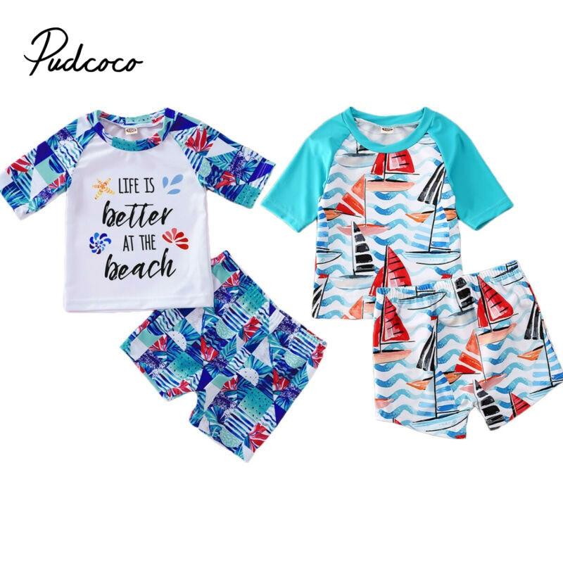 Pudcoco 2020 Hot New Summer Boy Baby Swimwear 2PCS Set Swimming Suit Infant Toddler Swimwear Kids Beach Bathing Clothes