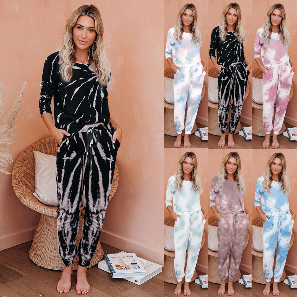 Casual Sports Dye Printing Women Two-Piece Set Fashion O-Collar Long Sleeve Loose Tops+ Lace-up Elastic Trousers Balck Blue