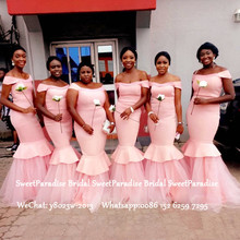 Pink Bridesmaid Dresses With Capped Sleeves Tiered Mermaid V