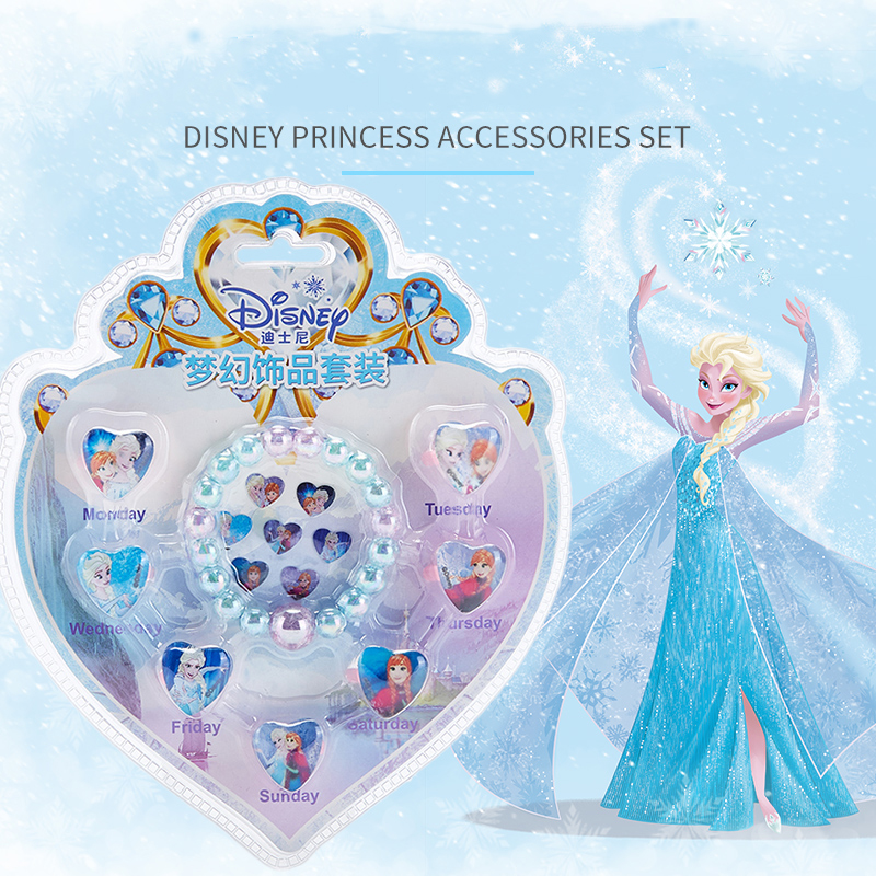 Disney Frozen Girls Pretend Play Makeup Toy Bracelet Ring Diamond Sticker Set My Little Pony Sofia The First Jewelry Combination