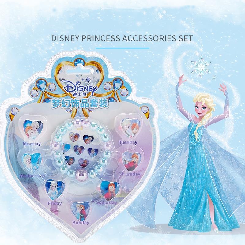 Disney Frozen Girls Pretend Play Makeup Toy Bracelet Ring Diamond Sticker Set My Little Pony Sofia The First Jewelry Combination