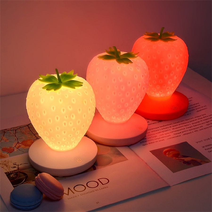 NEWKBO 3 Colors  Soft Silicone Strawberry Night Light USB Rechargeable Table Lamp Cartoon Touch Sensor Lights Bedroom Baby Lamps