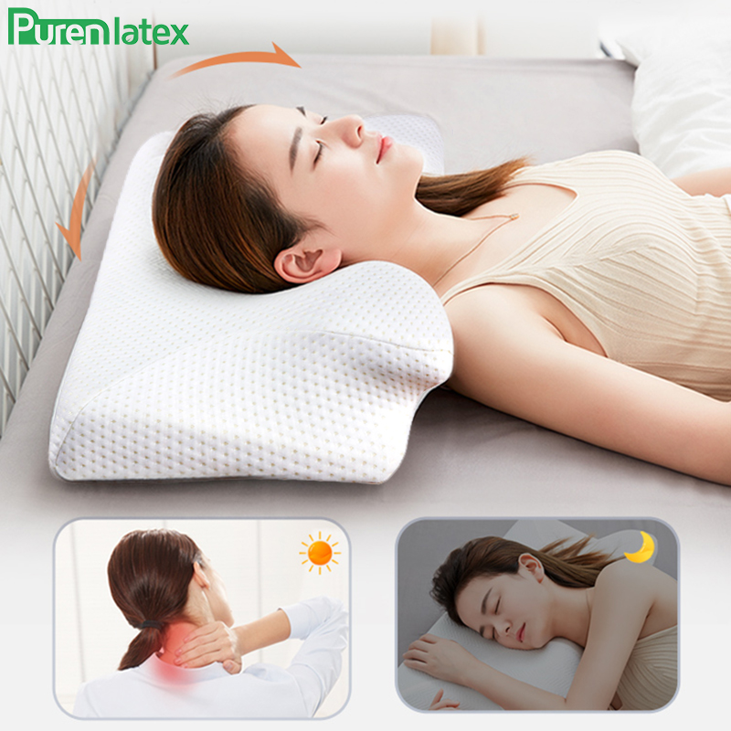 Purenlatex 14cm Contour Memory Foam Cervical Pillow Orthopedic Neck Pain Pillow for Side Back Stomach Sleeper Remedial Pillows(China)