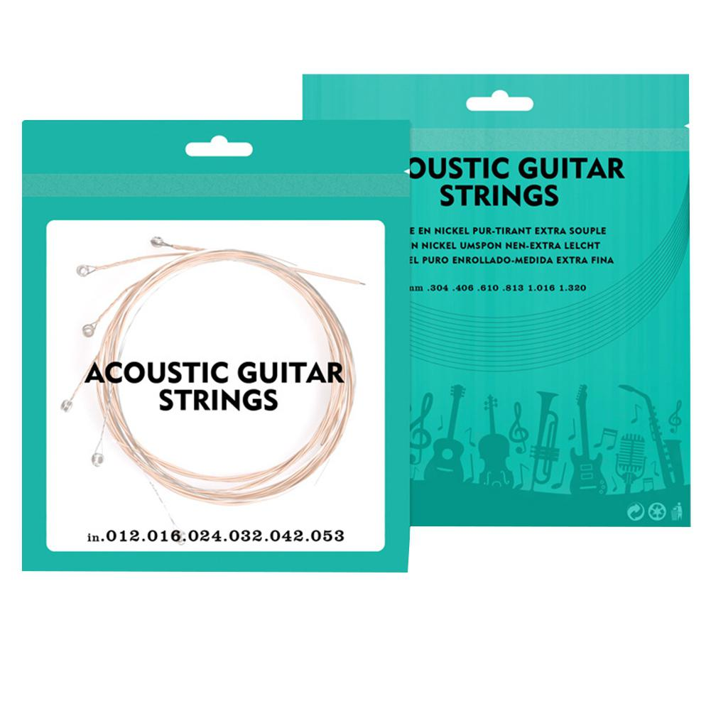 6pcs Acoustic Guitar Strings Red Copper 012 Plated Super Light Guitarra Strings Newest Guitar Parts Accessories AGS-01