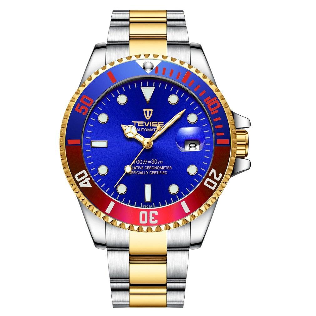 TEVISE colorido cinturón de acero luminoso con calendario automático reloj mecánico impermeable Casual reloj de pulsera para hombres y mujeres T801 TEVISE, relojes automáticos de moda para hombre, relojes mecánicos de acero inoxidable, reloj de lujo para hombre, fase lunar, luminosos, impermeables, nuevo