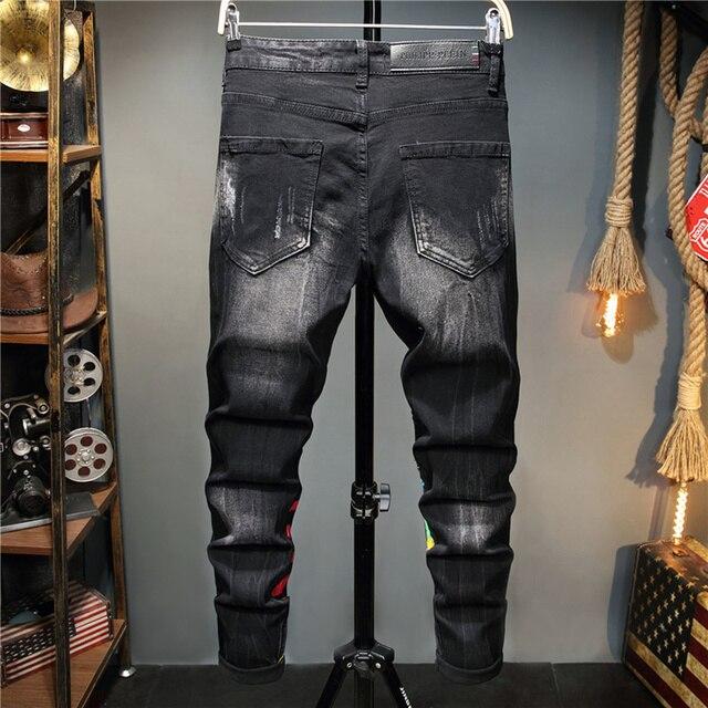 Pantalones vaqueros con Graffiti para hombre, pantalón informal de otoño, microelástico, estampado, a la moda, con personalidad 2