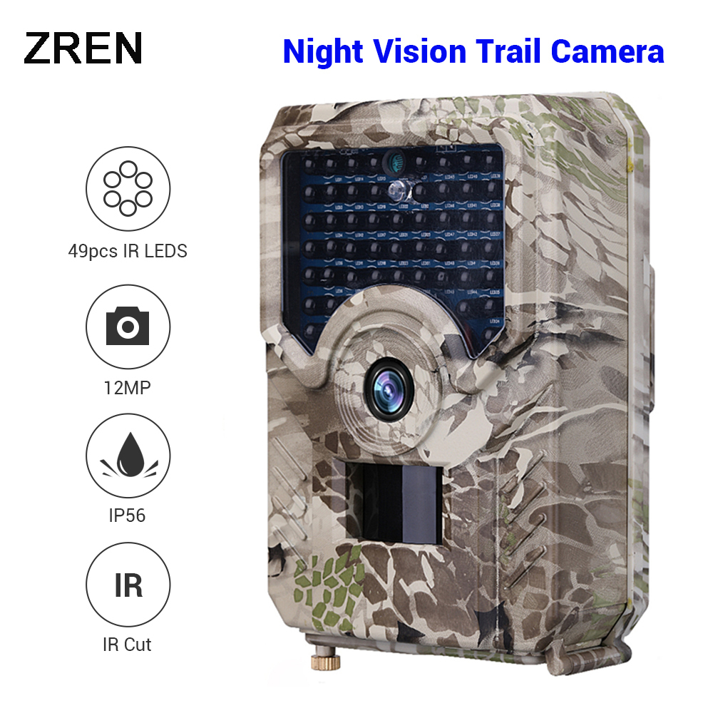 ZREN 12MP Hunting Camera Noturna Photo Trap Scoutguard Night Vision PIR Wildlife Game Trail Camera 1080P Fototrappola Foto Trap