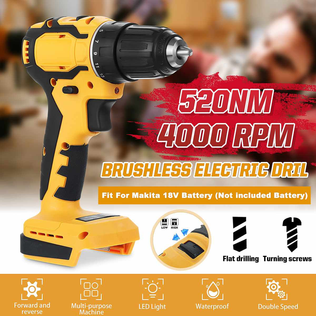 10mm Chuck Brushless Impact Drill 350N.m Cordless Electric Drill For Makita 18V Battery 4000RPM LED Light Power Drills