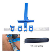 Hole Punch Locator Jig Tool Drill Guide Sleeve for Drawer Hardware Dowel Wood Drilling Punching Ruler 0-250MM Metric and Inch