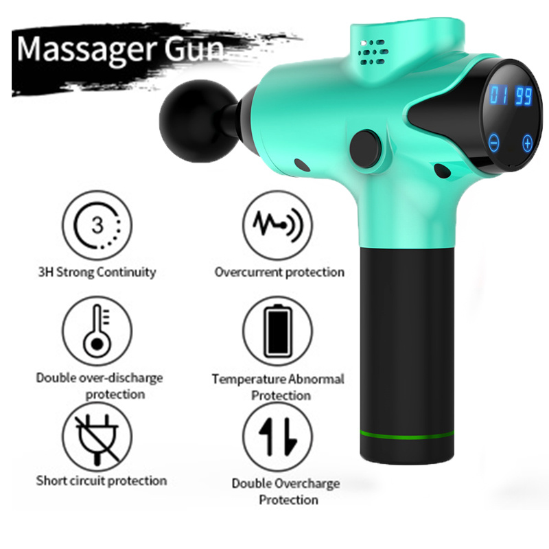 2400mAh 6 Head Professional Deep Tissue Massage Gun Electric Muscle Massage Gun Therapy Fascia Massage Pistol Neck Body Massager