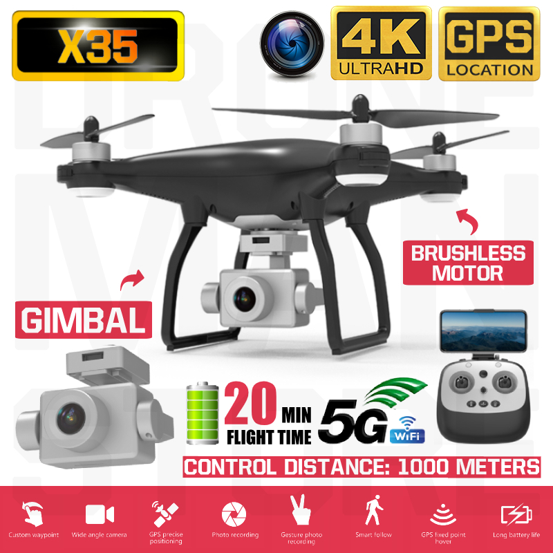 X35 4K 1080P Video Gimbal Full HD Camera RC Drone FPV 5G WIFI Professional Quadcopter GPS Positioning 22 Minutes Flying Time