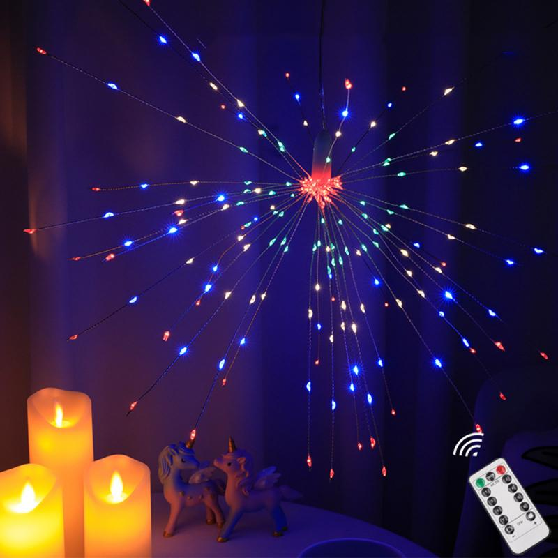 Garland Lights Outdoor Firework Christmas Lights Solar Power LED String Copper Wire Fairy Lights Xmas Party Decor Lamp Dropship