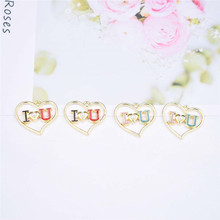 I LOVE YOU Heart Enamel  Charms Gold Tone Oil Drop Pendant DIY Bracelet  Earring Womens Necklaces Jewelry  DIY Making 10pcs 5pcs alloy enamel heels hat coat charms with artificial pearl gold tone charm for women earring bracelet jewelry diy accessory