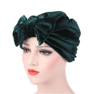 Image 4 - Fashion Women Bow bowknot Hijab Velvet Cap Chemo Hat Headband Muslim Turban Bandanas for Wedding Party Hair Accessories mujer