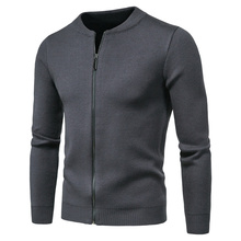 Knit Cardigan Sweater Men Zipper Spring Fashion Casual New O-Neck Solid Men's Slim-Fit