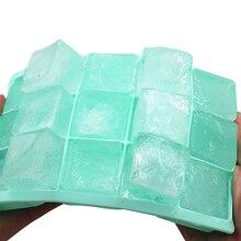 Bandeja de hielo de silicona de grado alimenticio, molde de hielo casero con tapa, máquina de hielo cuadrada, DIY, 15 cuadrículas