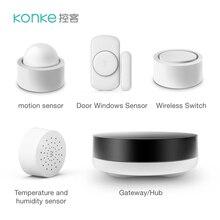 Konke Smart Home Kit Human Body Sensor Motion Temperatuur Vochtigheid Deur Raam Sensor Gas Rookmelder Zigbee