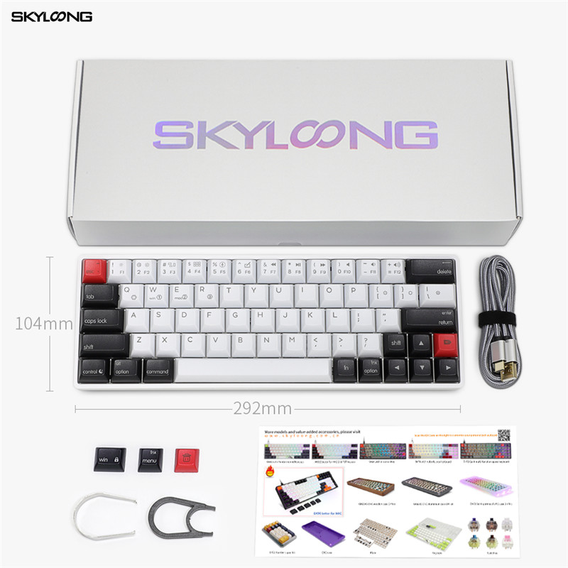 Skyloong AK64 64Keys Gaming Keyboard For MAC Wired Mechanical Keyboard Red Green Yellow Silver Switch For Desktop/Laptop/Tablet