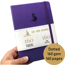 Dot cuadrícula diario cuaderno 5,6X8 pulgadas Tapa dura piel sintética PU, cuaderno de bocetos para ideas