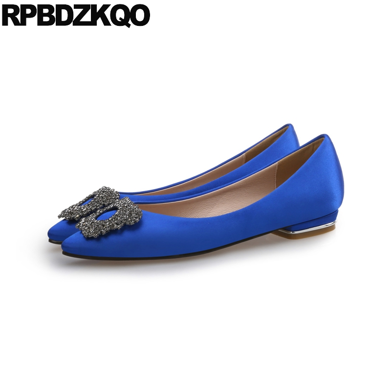 Wedding Ballet Shoes Satin Pointed Toe High Quality Rhinestone Blue Size 41 Pink Flats Large Women Crystal Ballerina Diamond
