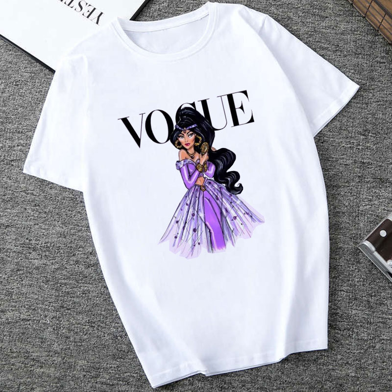 Women White Top Shirt VOGUE Lady Harajuku Print 19 Summer Short Sleeve Fashion Streetwear Tshirt For Women Korean Top Shirt 12