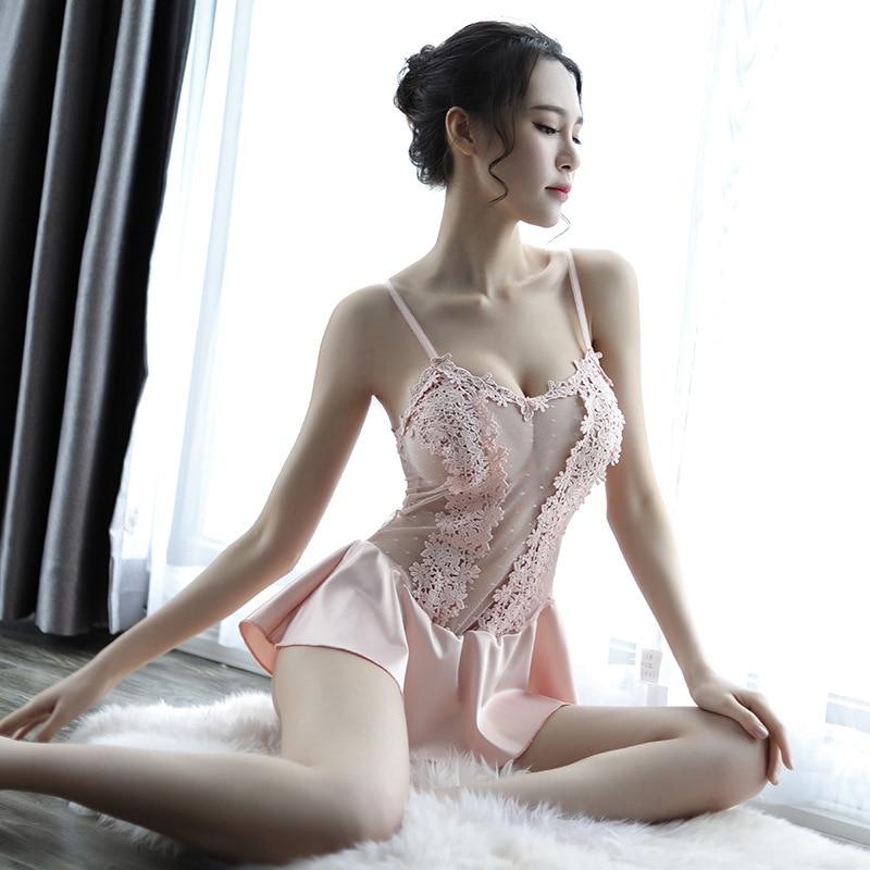 Volwassen lingerie Mooie nachtjapon met bretels Bedgown groothandel - 4