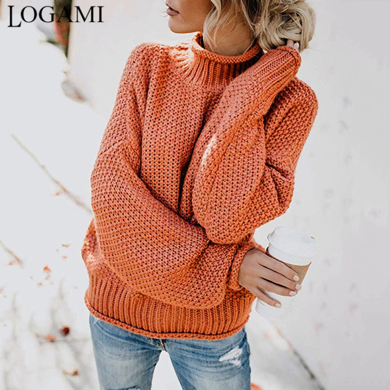 LOGAMI Women Sweaters and Pullovers Long Sleeve Knitted Loose Pullover Ladies Fall Sweater Fashion New