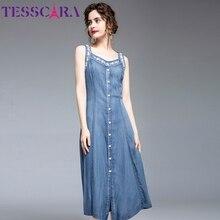 TESSCARA Women Summer Elegant Embroidery Denim Dress Festa High Quality Sleeveless Party Robe Femme Designer Casual Vestidos