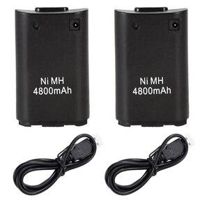 2 шт., сменные батареи 4800 мАч для беспроводного игрового контроллера Microsoft Xbox 360, Ni MH, резервный аккумулятор