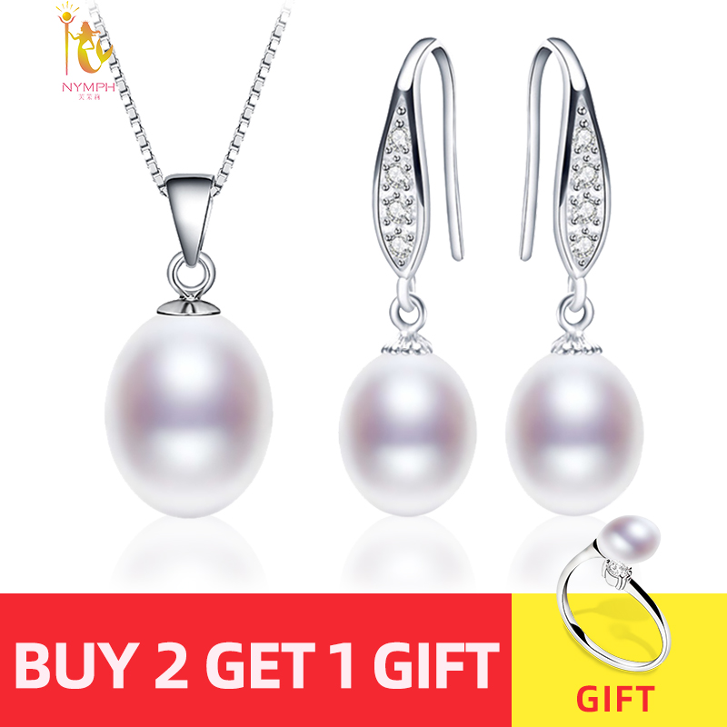 NYMPH Pearl Jewelry Set Natural Fresh Water Pearl Necklace Pendant Earrings For Wedding Party Gift Women NYMPH Pearl Jewelry Set Natural Fresh Water Pearl Necklace Pendant Earrings For Wedding Party Gift Women[tz1032]