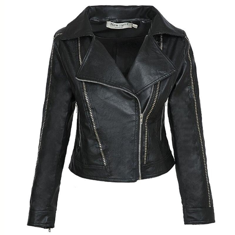 Jackets Faux-Leather Trendy Outerwear Basic-Coat Turn-Down-Collar Black Women Autumn