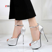 Свадебные туфли на платформе и каблуке серебристого цвета; женские туфли-лодочки; женские босоножки золотистого цвета; женские Вечерние туфли на каблуке 14 см; Sapato feminino