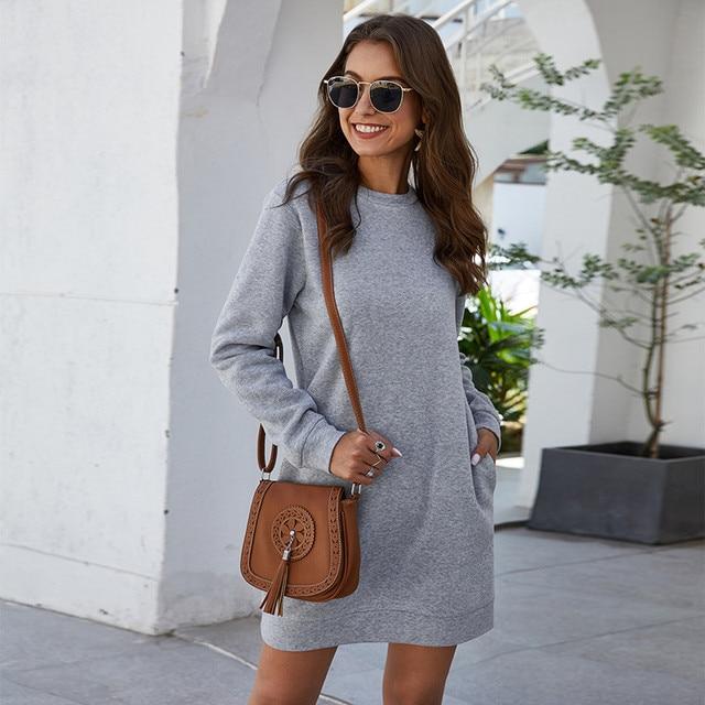 Leosoxs осенне-зимнее платье-свитер с круглым вырезом и длинным рукавом для женщин 2020 Новое модное однотонное свободное мини-платье с карманом для женщин Vestidos 4