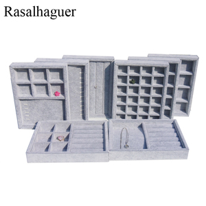 Wholesale DIY Cases 20*15*3cm Gray Velvet Drawer Dividers Partition Organizer Tray DIY Stuff Jewelry Hair Band Storage Box