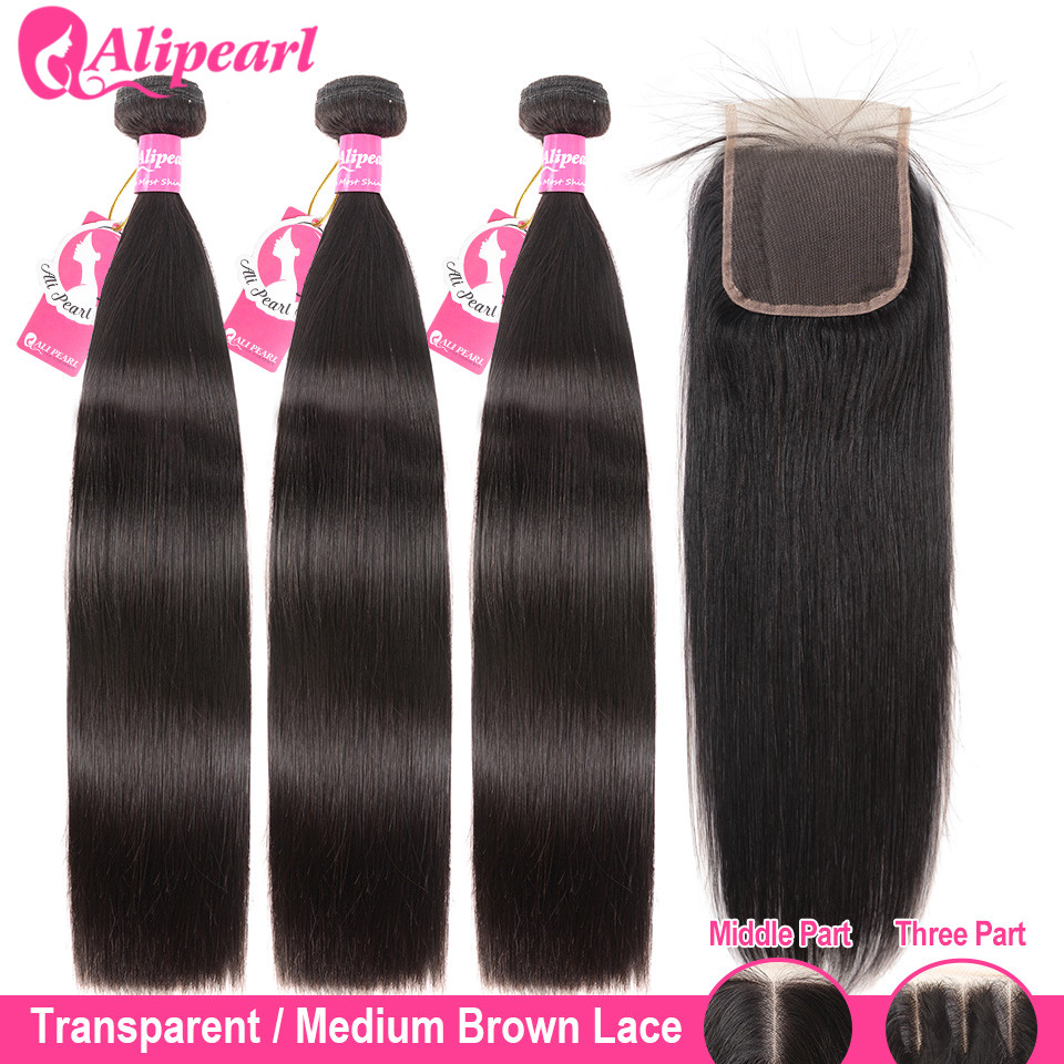 AliPearl Hair 100% Human Hair Bundles With Transparent Lace Closure Brazilian Straight Hair Weave 3 Bundles Remy Hair Extension