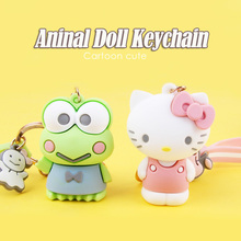 Hot Cute Cartoon hello kitty frog cat bunny keychains Silicone doll Keychain Bag Pendant car keyring key holder Kids girls Gifts