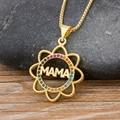 2020 elegante Mutter der Tag Geschenk MaMa Brief Name Anhänger Sonnenblumen Kette Halsketten Kupfer Zirkonia Schmuck für Frauen Mom