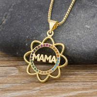 2020 elegante del Día de la madre regalo de carta de mamá Colgante para Nombre de collares de cadena de cobre joyería de circonia cúbica para las mujeres, mamá