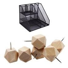18Pcs Geometric Wood Decorative Push Pins & 1x Home Office Desktop Office Storage File Rack
