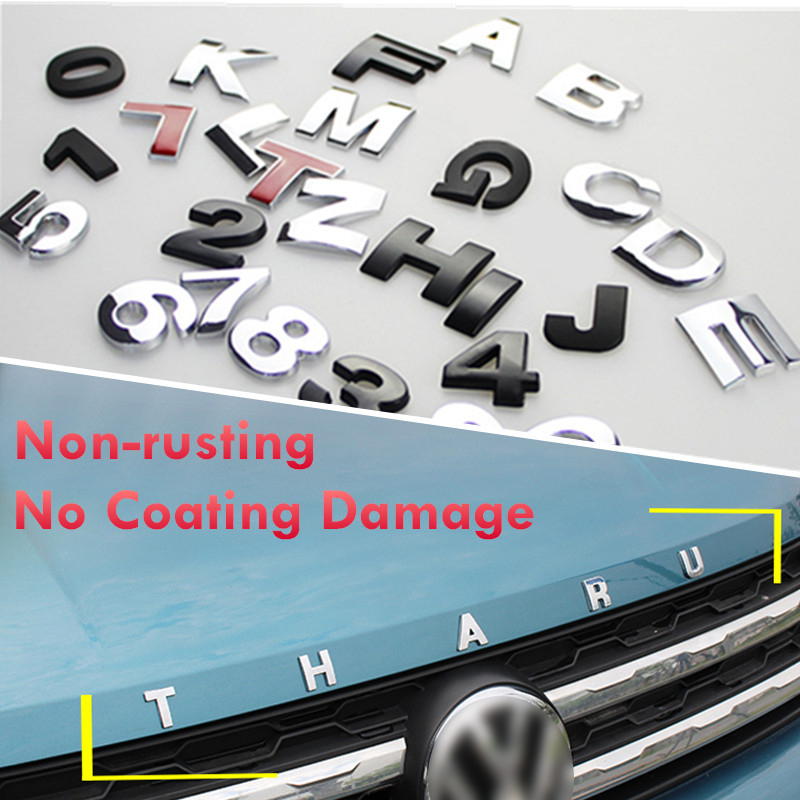 Never Rust Do Not Paint Off 25mm 3D Kirsite Letter Stickers Logo Car Stickers For Car Body Sticker Car Accessories