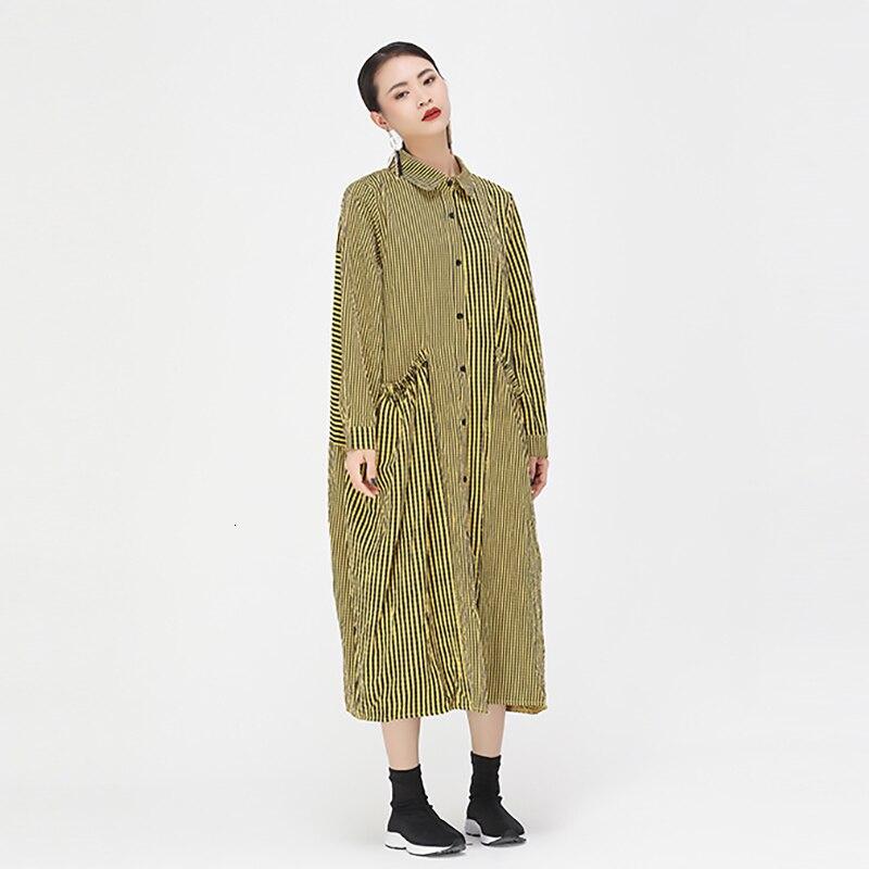 [EAM] Women Blue Plaid Striped Split Long Big Size Shirt Dress New Lapel Long Sleeve Loose Fit Fashion Spring Autumn 2019 1D945