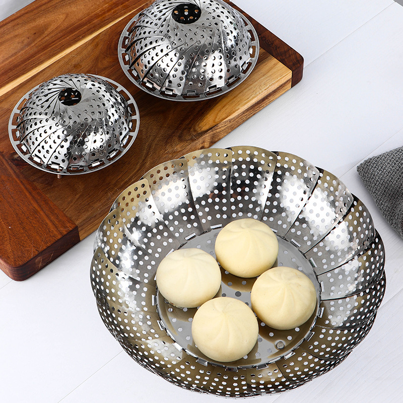 KitchenAce Stainless Steel Foldable Steamer Fruit Vegetable Storage Basket Kitchen Steaming Gadgets&Tools Kitchen Strainer Gaget